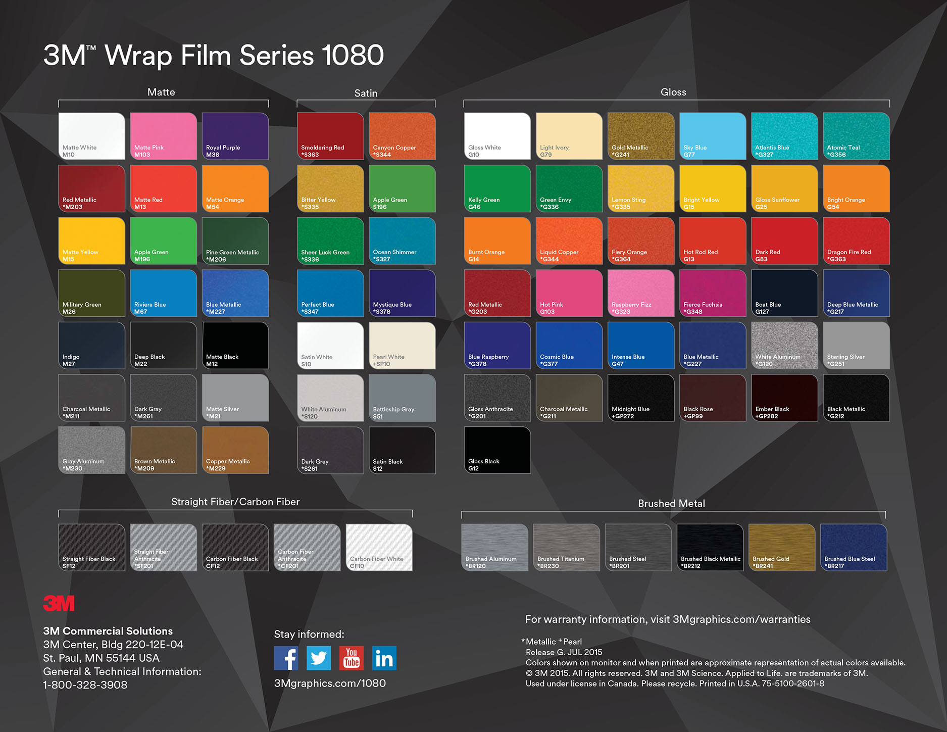 1080 3M vinyl colour selection